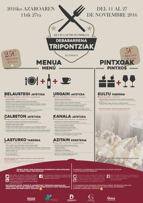 'Tripontziak' ekimen gastronomikoaren hirugarren edizioa, azaroaren 11tik 27ra Debabarrenean