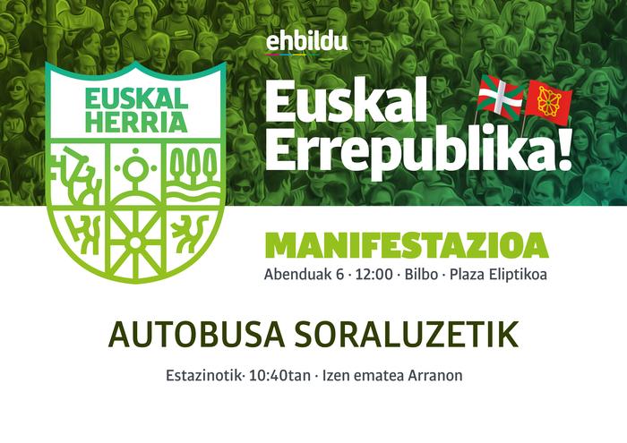 Euskal Errepublika aldarrikatzeko manifestaziora joateko autobusa.