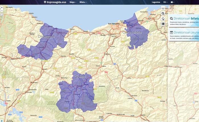 Debegesa, Oarsoaldea eta Goieki garapen agentziek enpresen mapa berria osatu dute GIS teknologia erabiliz