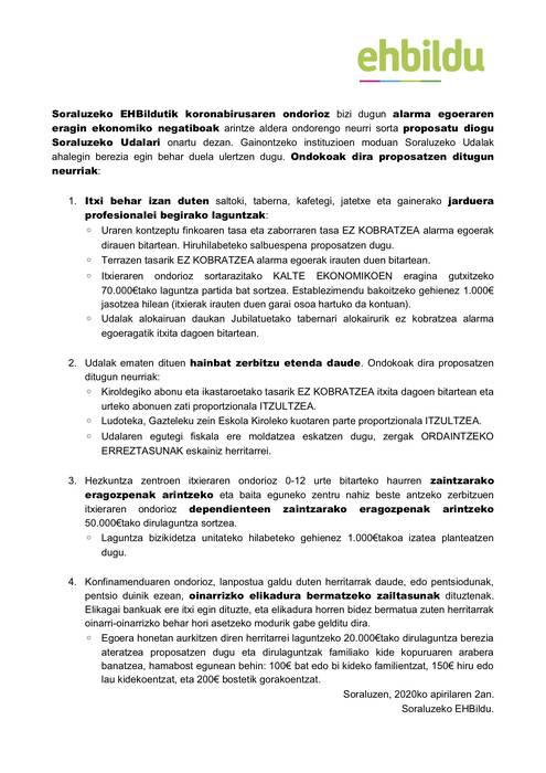 COVID-19aren inpaktu ekonomikoaren aurrean proposamenak Udalari