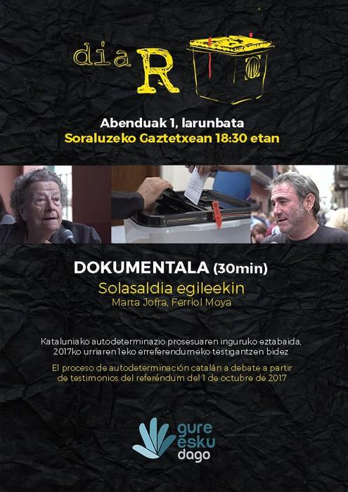 Kataluniako erreferendumaren gaineko dokumentala eta solasaldia Gure Esku Dagok antolatuta