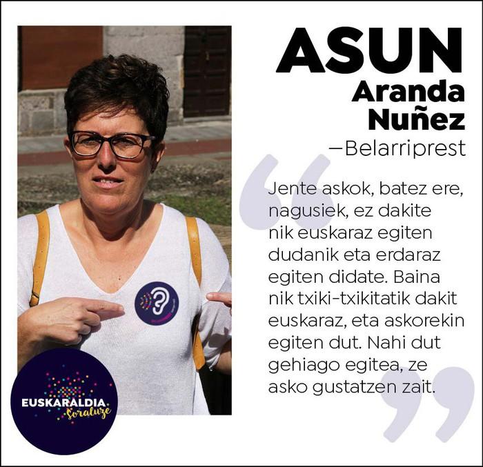 """Asun Aranda, belarriprest: """"Askok ez dakite nik euskaraz egiten dudanik eta erdaraz egiten didate"""""""