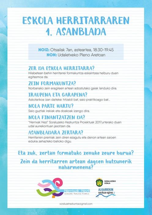 ESKOLA HERRITARRA. I.ASANBLADA