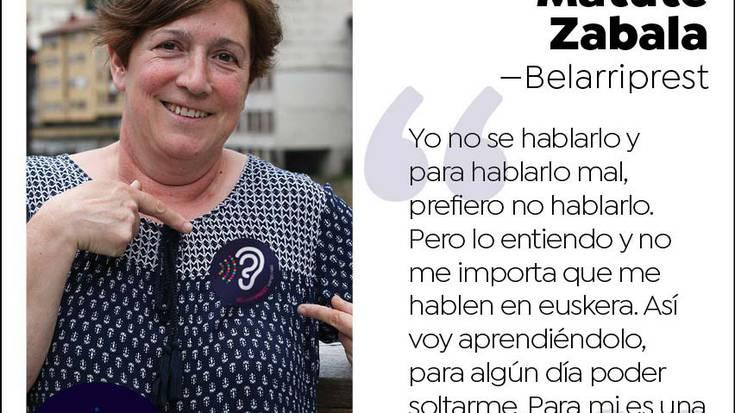 """Inma Matute, belarriprest:""""Lo endiendo, y no me importa que me hablen en euskera. Así voy aprendiéndolo."""""""