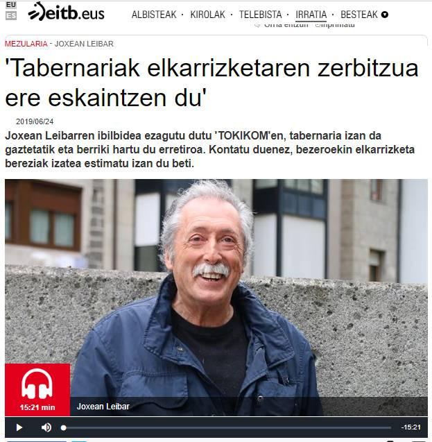 AUDIOA. Joxean Leibar tabernaria elkarrizketatu dute Euskadi Irratiko mezularia saioan