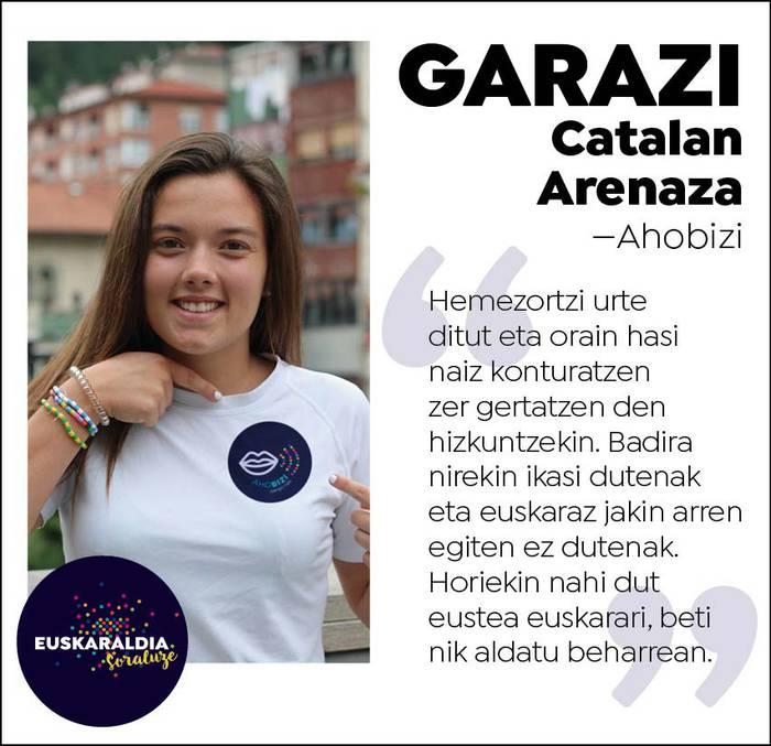 """Garazi Catalan, ahobizi: """"Hemezortzi urte ditut eta oraintxe hasi naiz konturatzen zer gertatzen den hizkuntzekin"""""""