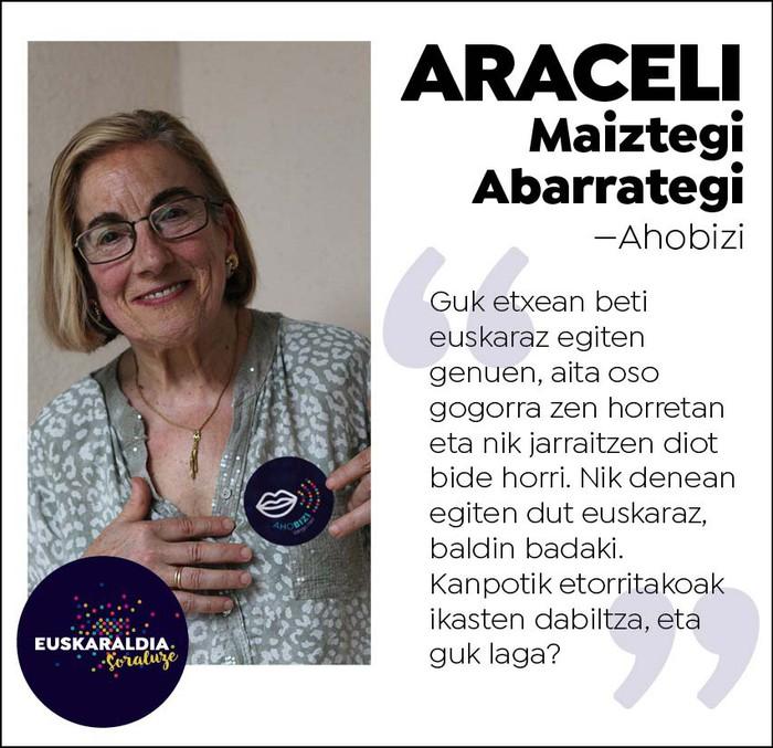 """Araceli Maiztegi, ahobizi: """"Guk etxean beti euskaraz egiten genuen, aita oso gogorra zen horretan"""""""